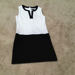 Color block shift drop waist vneck sleeveless